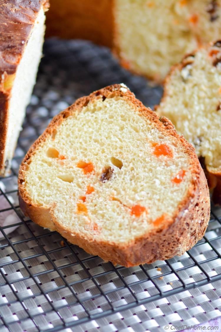 Texture of Christmas Panettone - Sweet Yeast Bread Like Cake