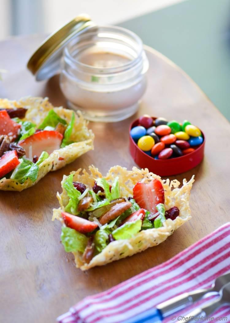 Valentines Day Savory Brunch Salad in Heart-Shape Parmesan Cups