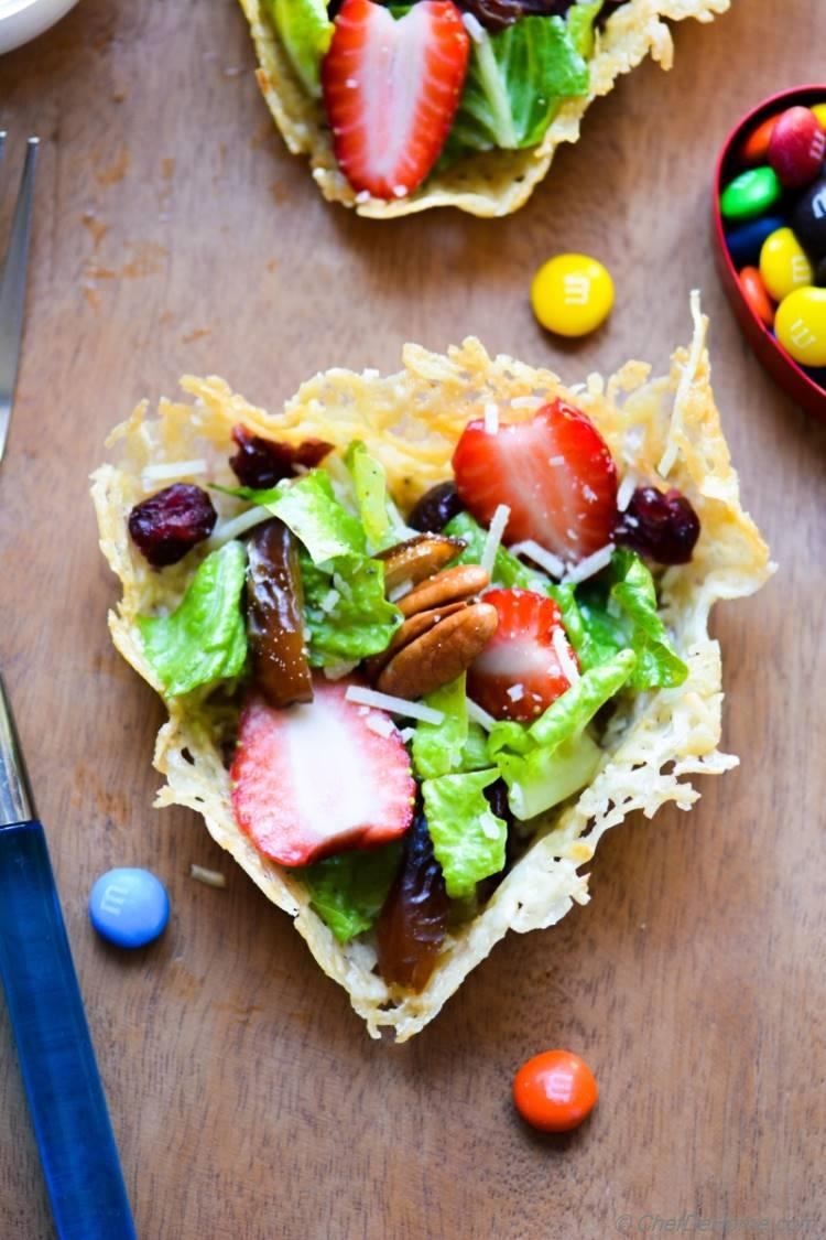 Valentines Day Brunch Salad with Dates Chocolate and Heart-Shape Parmesan Cups