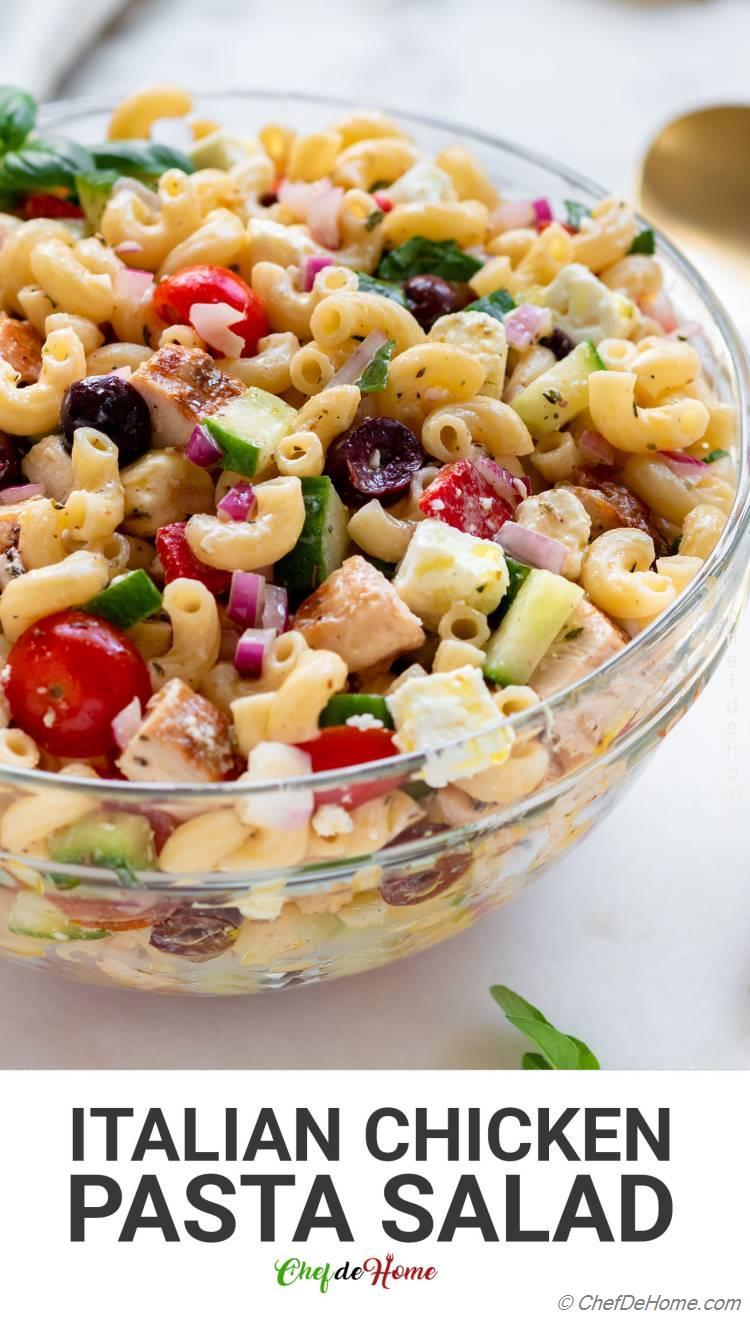 Italian Pasta Salad with Chicken for summer potluck