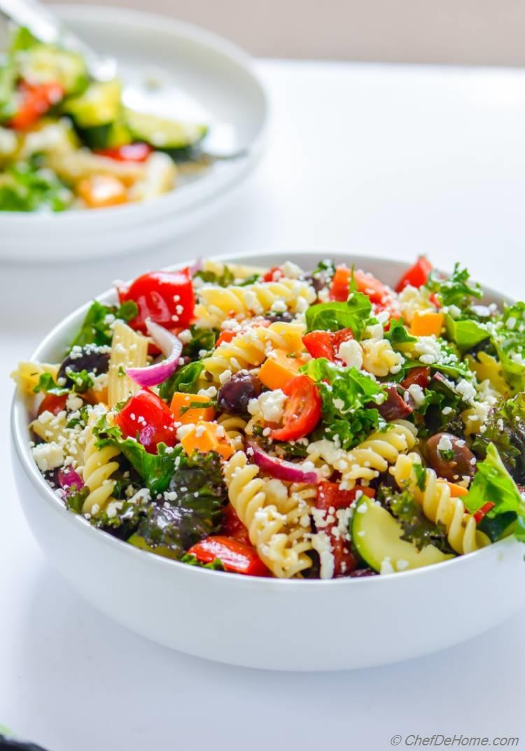 a deli style pasta salad vegetarian and healthy touch of kale and lots of crunchy vegetables | chefdehome.com