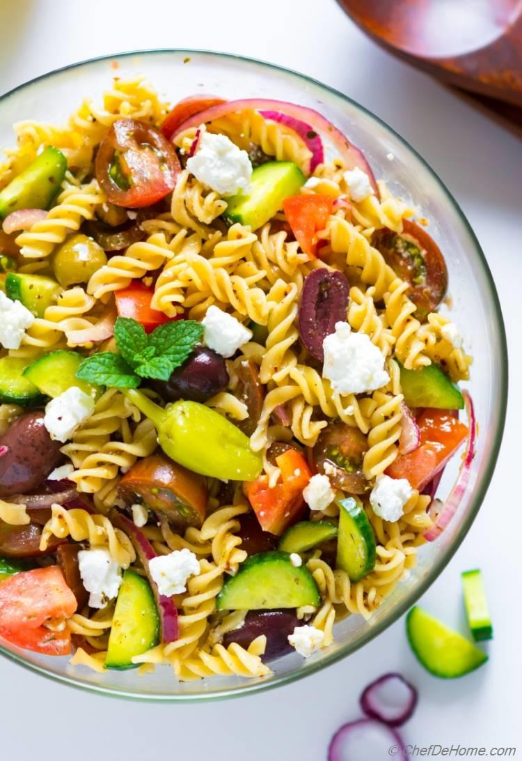 A bowl of Greek Pasta Salad