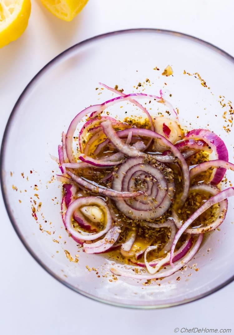 Red Onions Marinated in Greek Pasta Salad Dressing