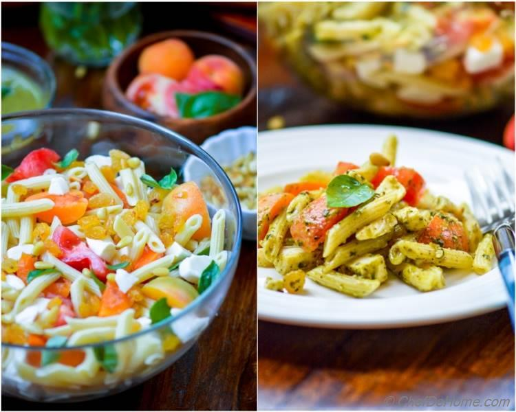 Best Crowd Pleaser Penne Caprese Pasta Salad with Pesto Dressing | chefdehome.com
