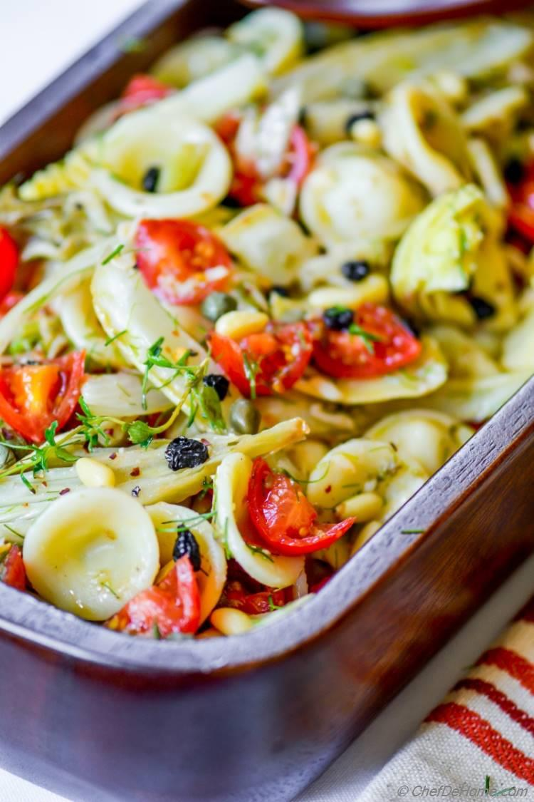 Lite and Lemony Pasta Salad with Roasted Sweet Fennel and Artichoke | chefdehome.com