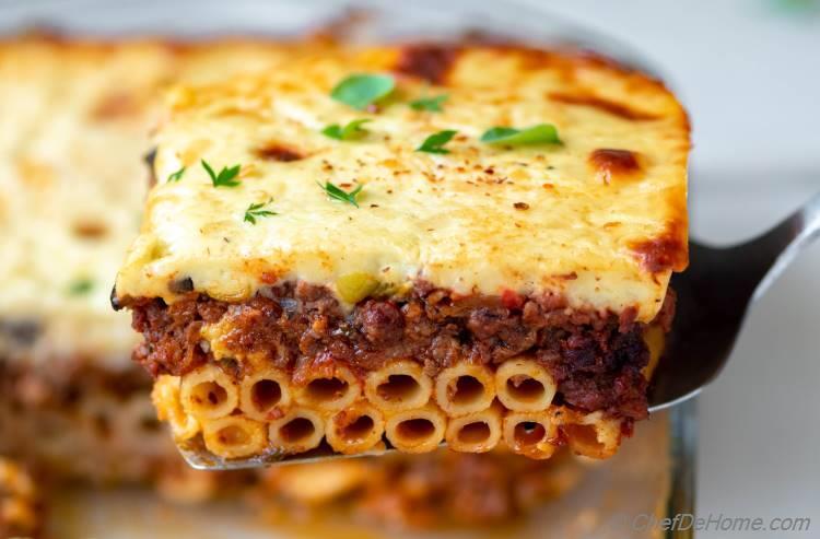 Greek Lasagna Recipe Pastitsio Slice