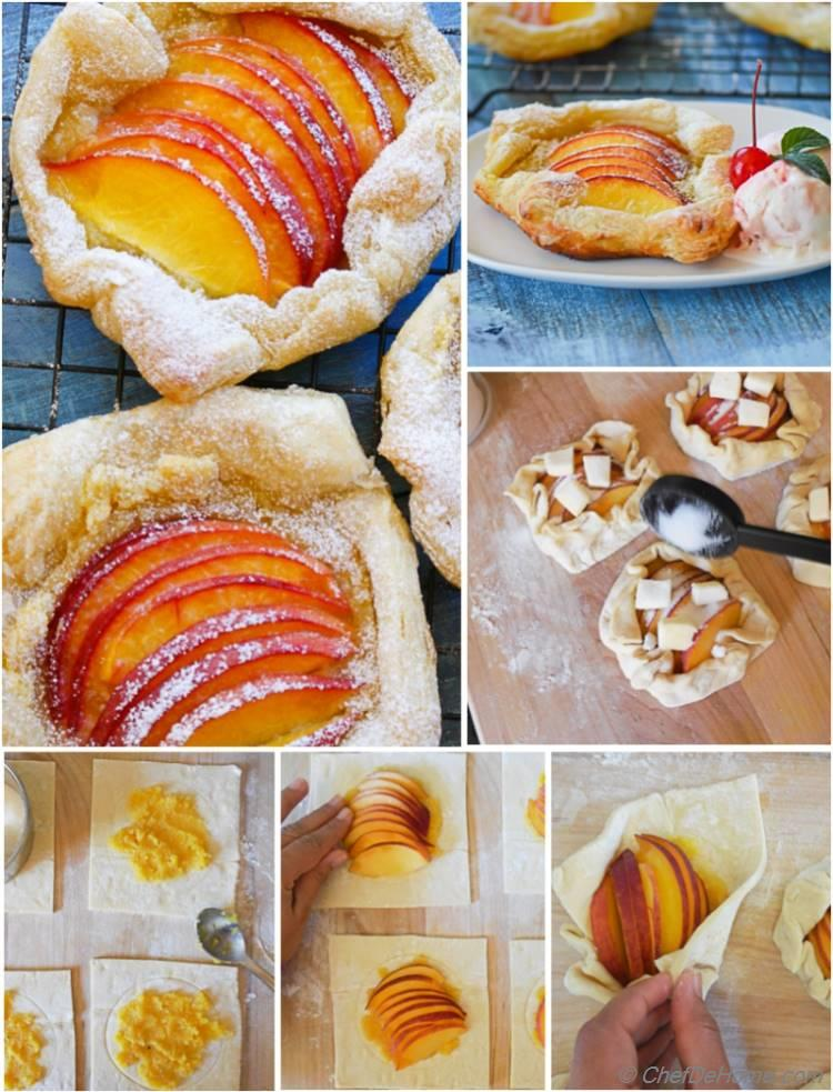 Learn to make Peach Galette - Rustic free-form Peach Tarts