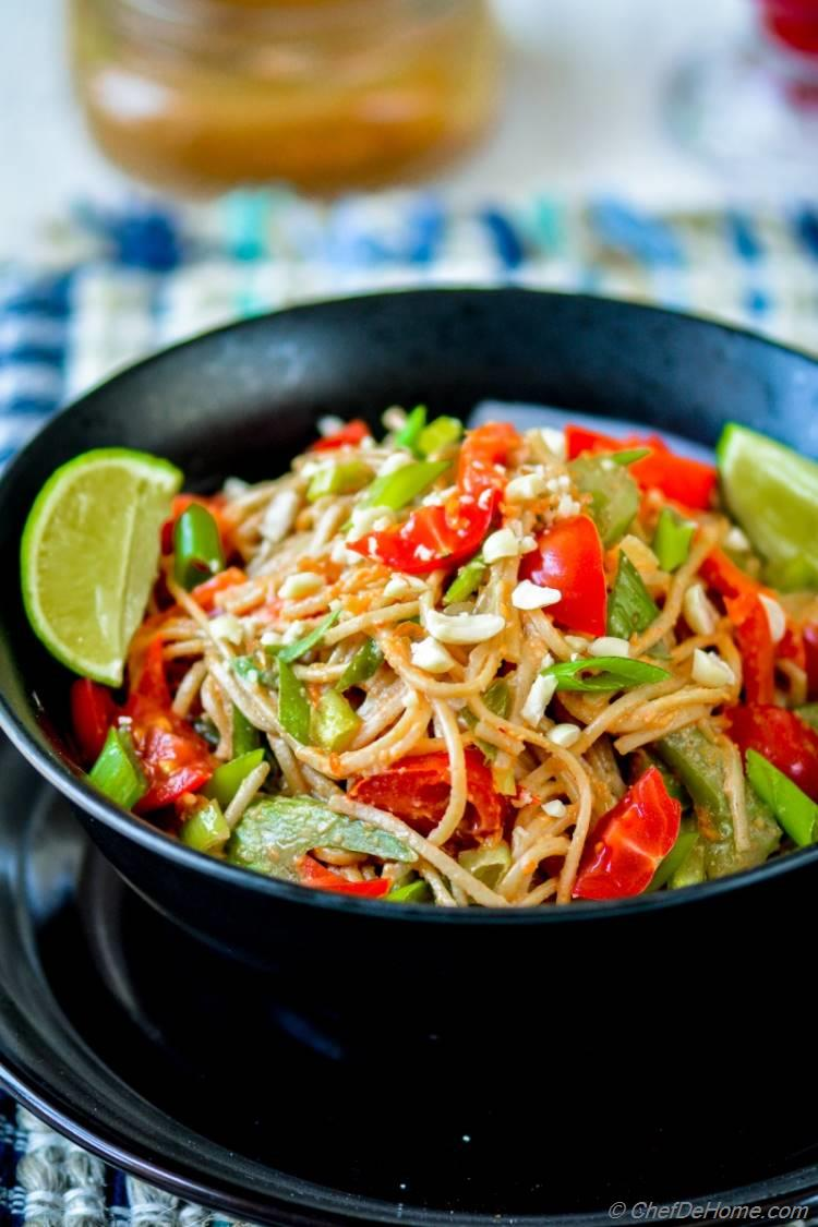 Noodles Coated in Sweet and Spicy Peanut Sauce | Noodles and Company Indonesian Peanut Saute Inspired Recipe | Vegan and Gluten Free | chefdehome.com