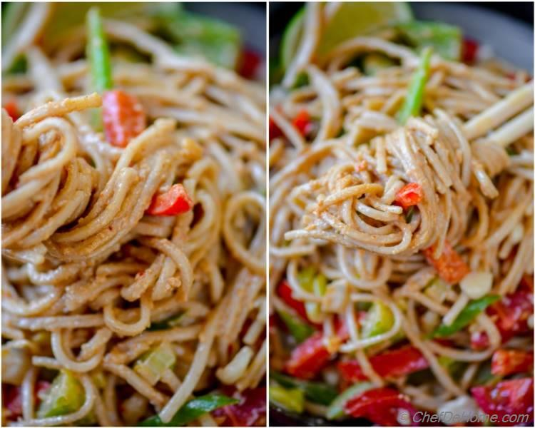 Warm Buckwheat Noodles Coated in Sweet and Spicy Peanut Sauce | chefdehome.com