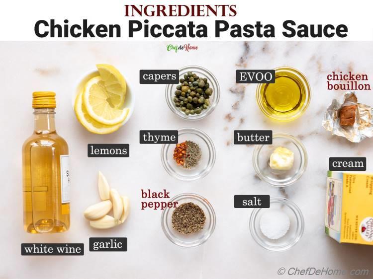 Ingredients Sauce for Chicken Piccata Pasta