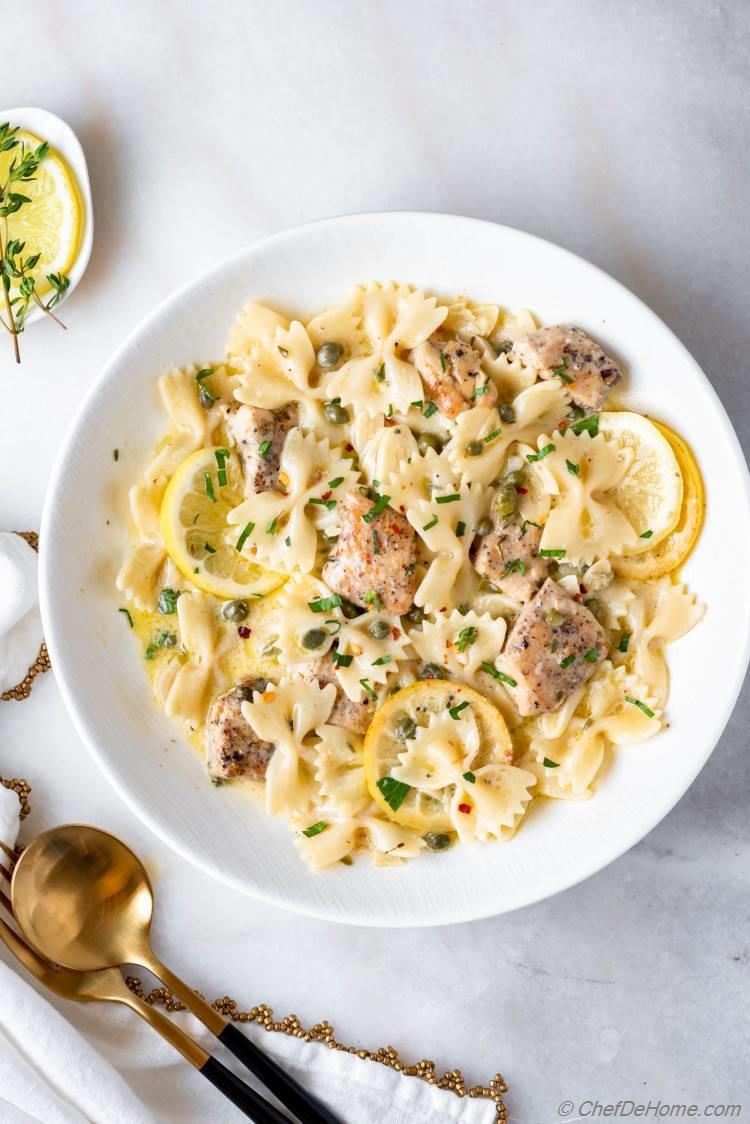 Lemon chicken piccata pasta