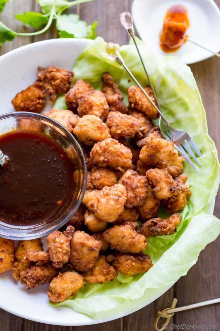 Popcorn Chicken with sweet and hot Firecracker Sauce   chefdehome.com