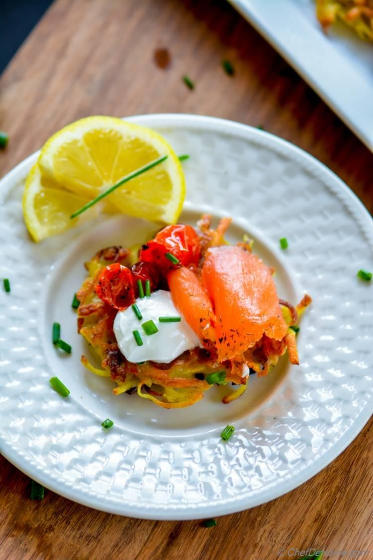 Mini Potatoes Panckaes topped with smoked salmon for easy holiday entertaining | chefdehome.com