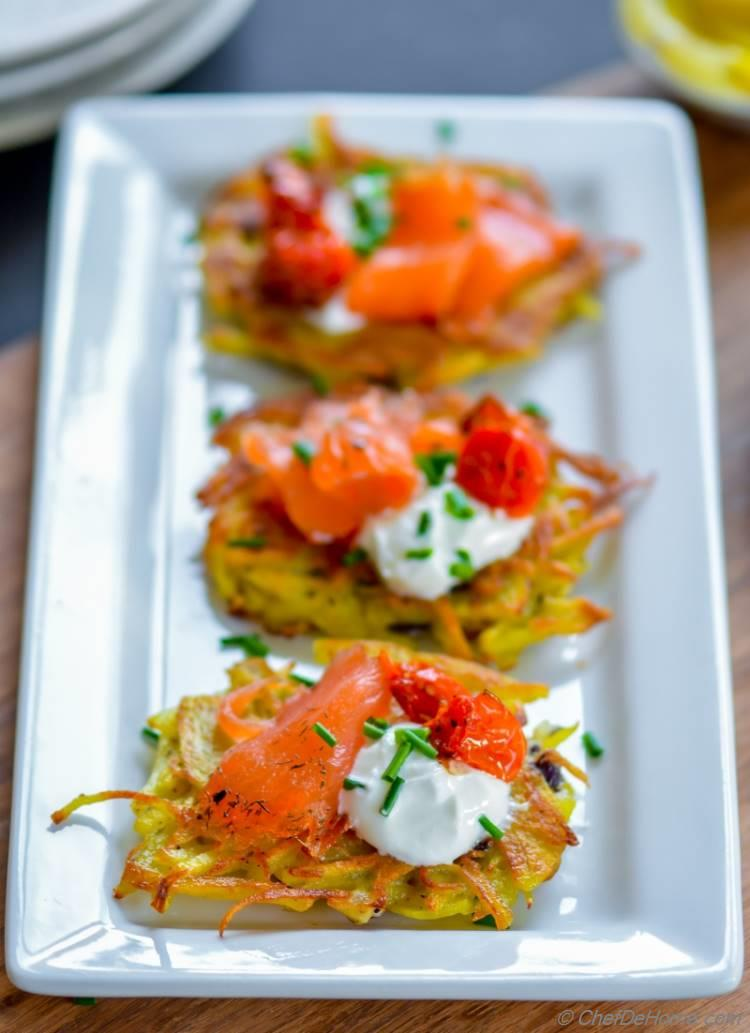 Potato Latkes | Lit up Holiday Party Table with Easy Colorful Appetizer made with Potato and Salmon | chefdehome.com