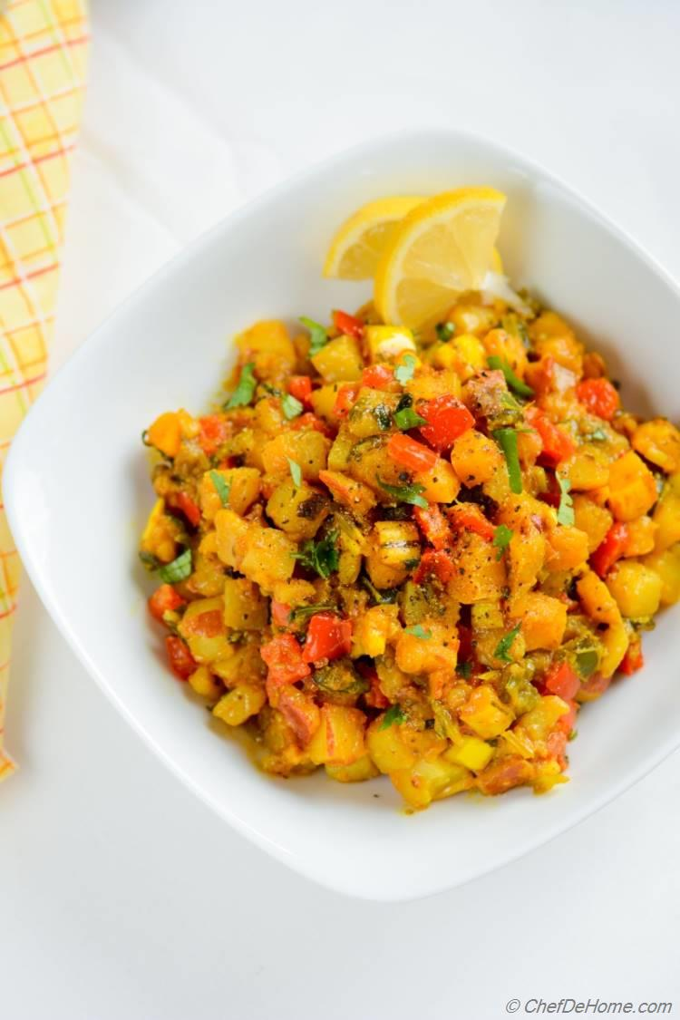 Potatoes, Squash Curry Hash. Zesty makeover for thanksgiving leftovers!