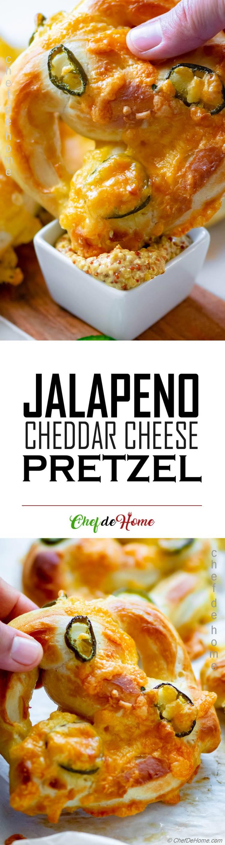 The best ever Jalapeno and Cheddar Cheese Soft Pretzel