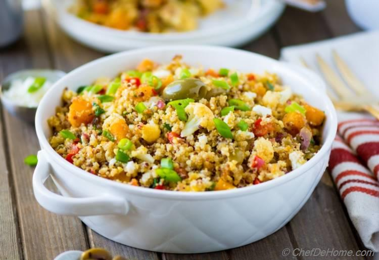 Healthy Quinoa Salad with vegetables olives and herbs | chefdehome.com