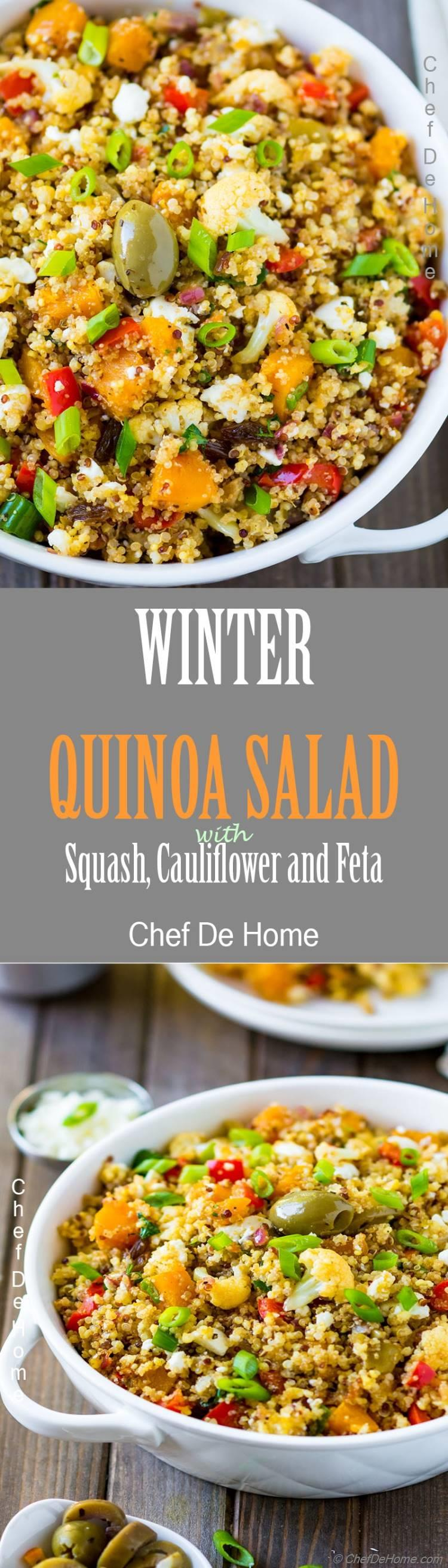 Delicious lite and healthy quinoa salad loaded with veggies and herbs for healthy New Year | chefdehome.com
