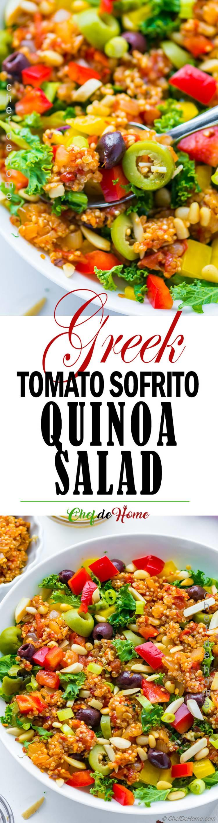 Quinoa Salad Bowl with Olive and Greek Dressing