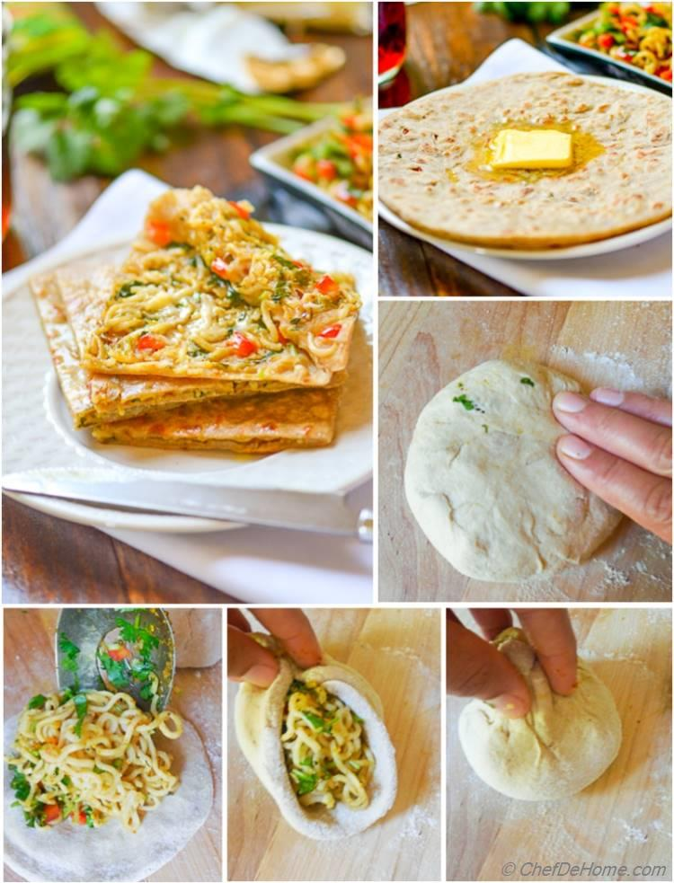Ramen Noodles Stuffed Whole Wheat Flat Bread