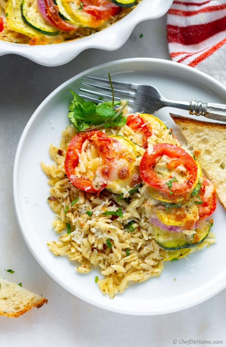 Baked Vegetable Gratin Tian with Pasta