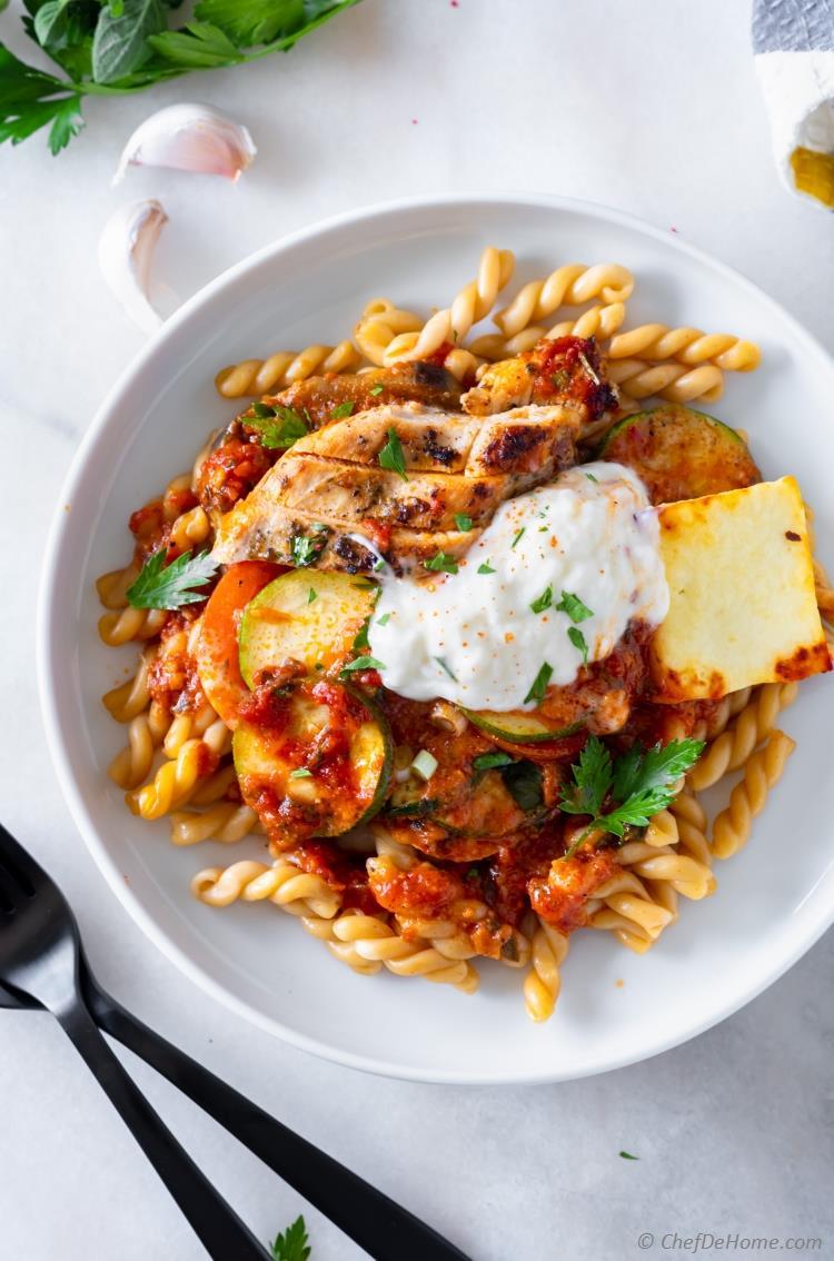 Chicken Ratatouille Over Pasta