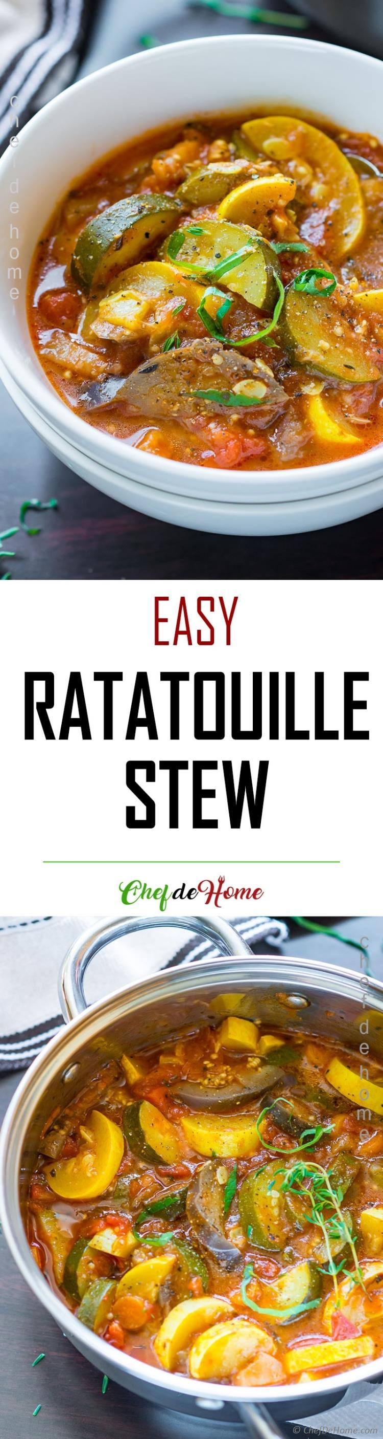 Healthy and Easy Ratatouille Recipe prepared like stew