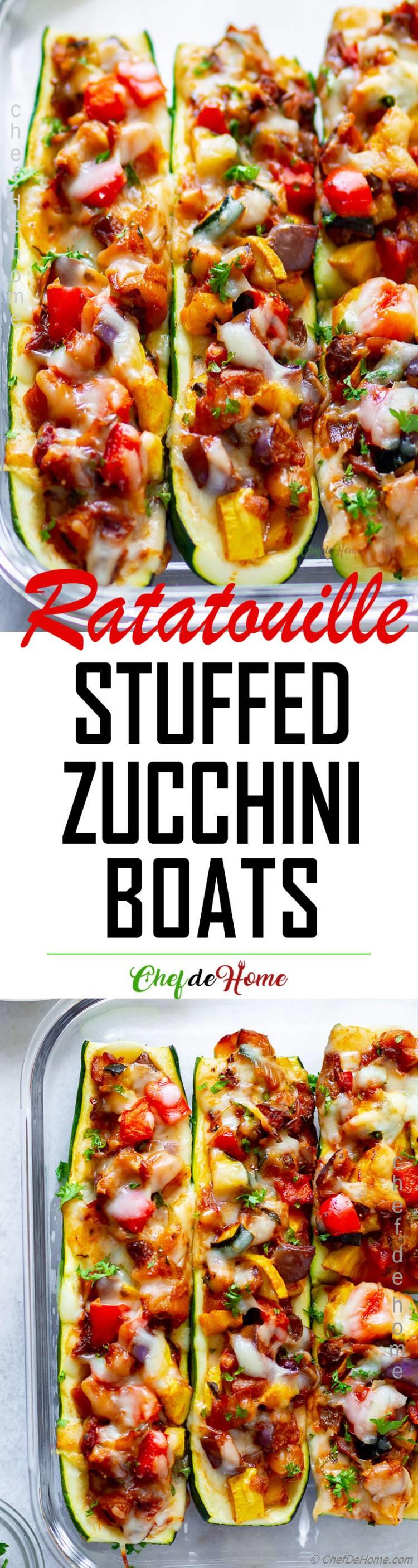 Flavor of Ratatouille stuffed in veggie zucchini boats