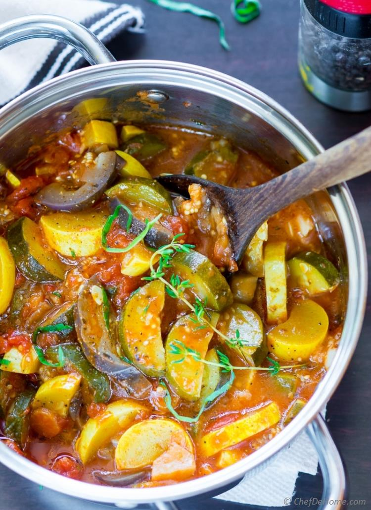 Simple Ratatouille with zucchini eggplant and tomatoes