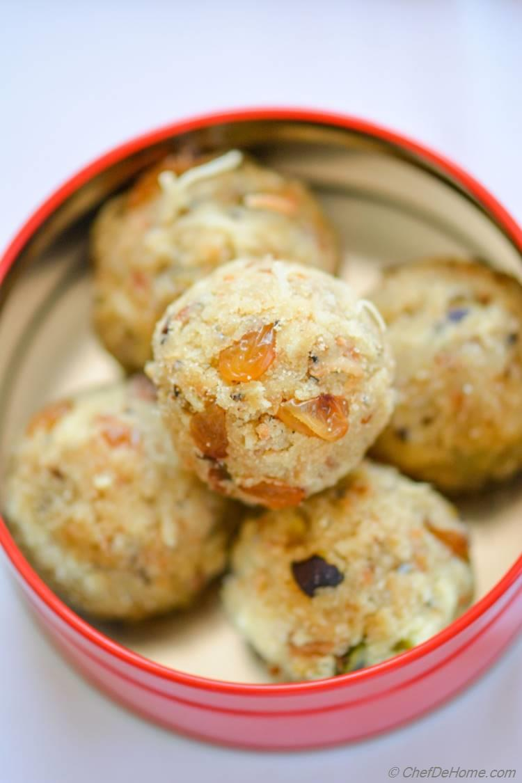 Rava (Semolina) Ladoo (truffles) are sweet and buttery in taste, are special favorite of kids, and perfect for tea-time snacking!