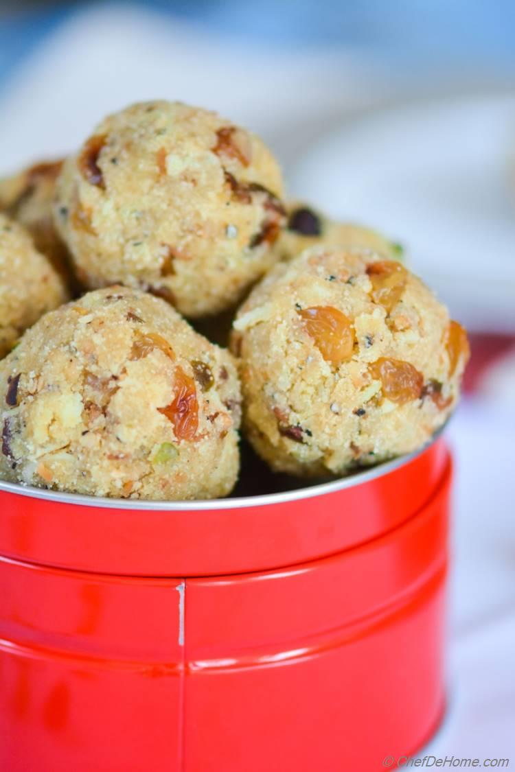 Rava (Semolina) Ladoo (truffles) have sweet, buttery bite with special surprise of crunchy pistachio nuts and savory plum golden raisins. Pack some to gift someone special or sneek one into kid's lunch box for a special-sweet-surprise!