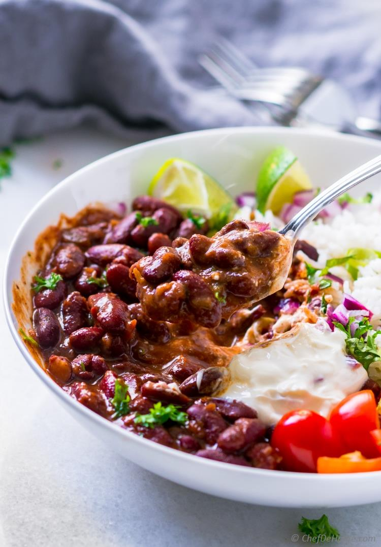 Red Beans cooked with Salsa
