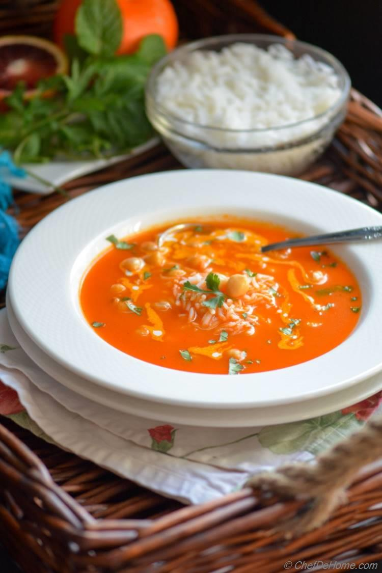 Flavorful tomato broth with rice and chickpeas winter soup heaven!