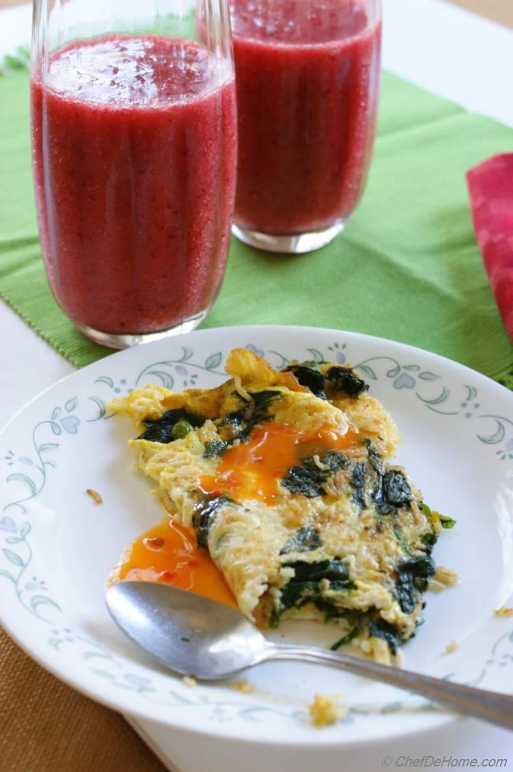 Easy Rice and Spinach Omelette