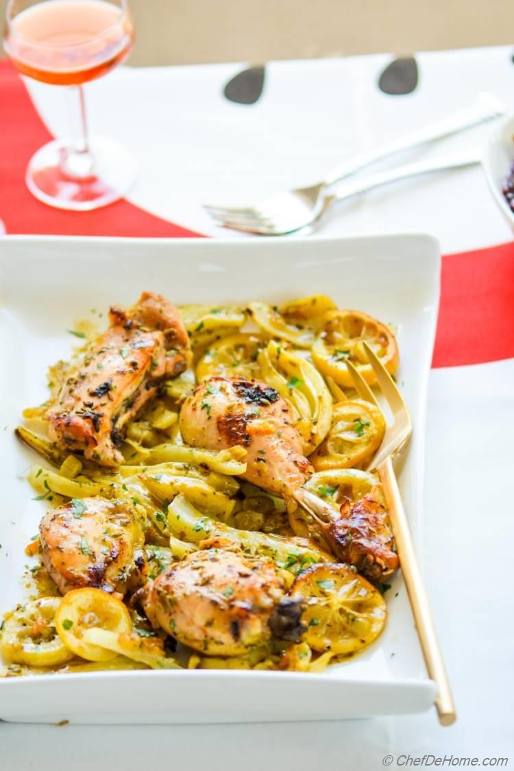 Roasted Chicken with Limoncello, savory citrus and fennel chicken thanksgiving dinner for two!