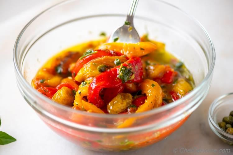 Roasted Peppers with Herb Basil Oil