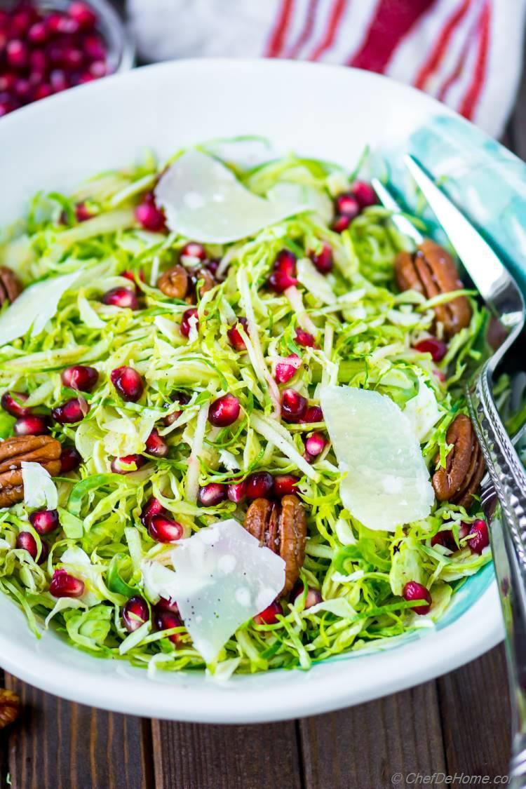 Shaved Brussel Sprout Salad with Apple and Pom seeds