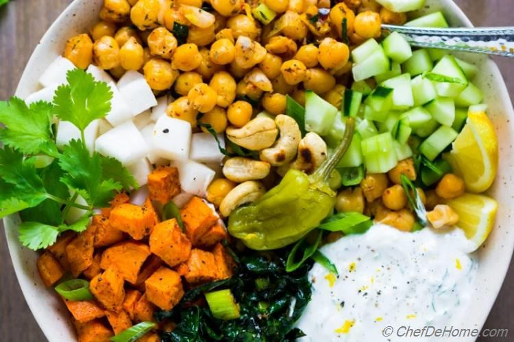 Sweet Potato Kale and Chickpea Salad with cooling yogurt and herbs dressing   chefdehome.com
