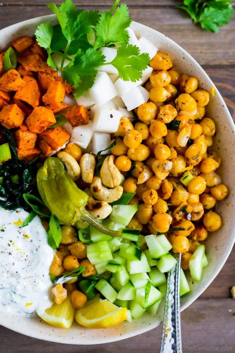 Sweet Potato Salad with spicy chickpeas kale and cucumber   chefdehome.com
