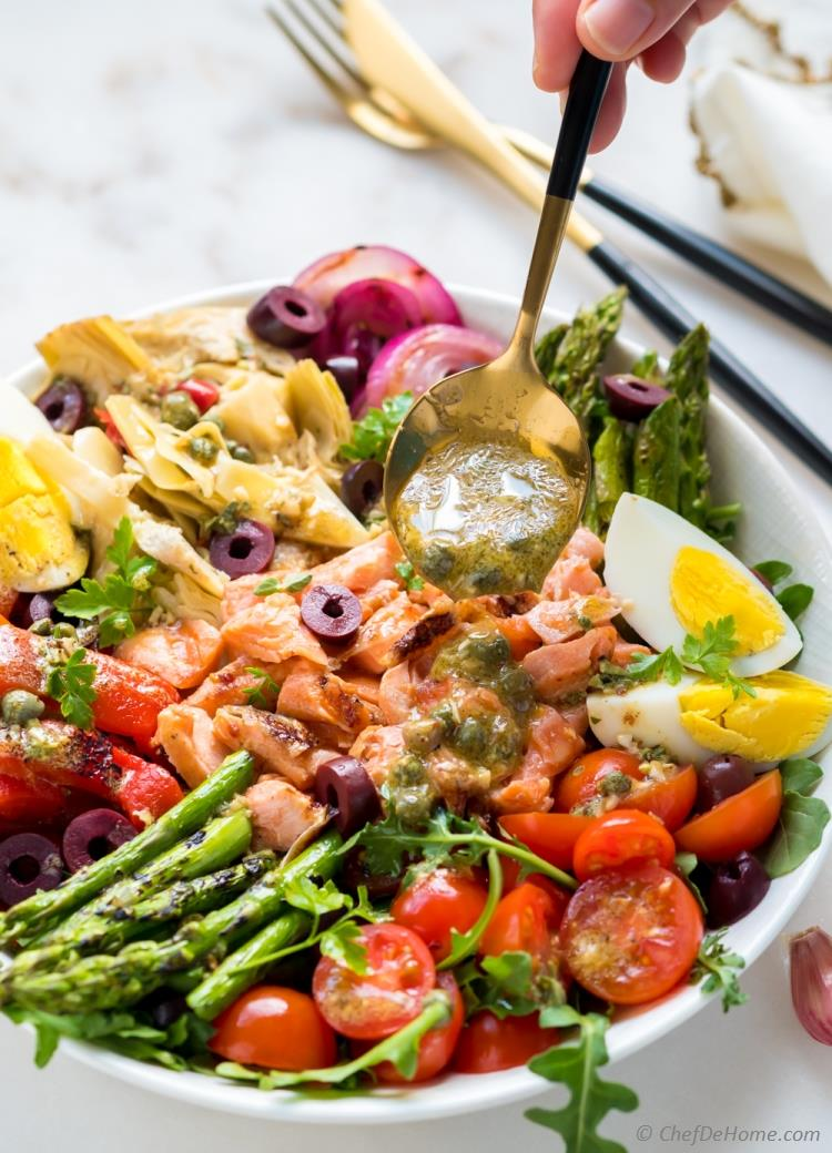 Grilled Salmon Nicoise Salad with Mustard Dressing