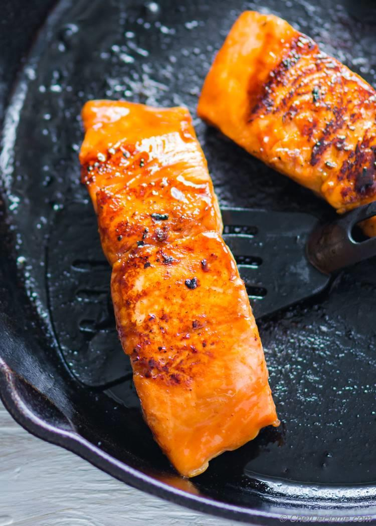 Teriyaki Salmon cooked in Skillet