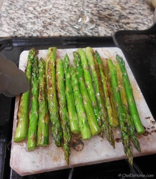 Himalayan Salt Block Cooked Lamb and Asparagus