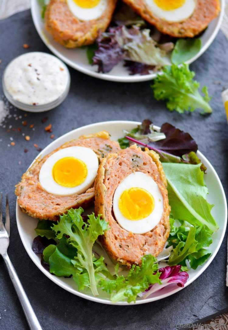 Baked Chicken Scotch Eggs - a healthier all-in-one brunch!