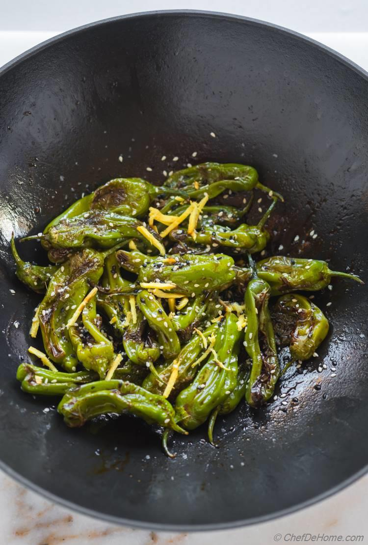 Cooking Shishito Peppers in Wok