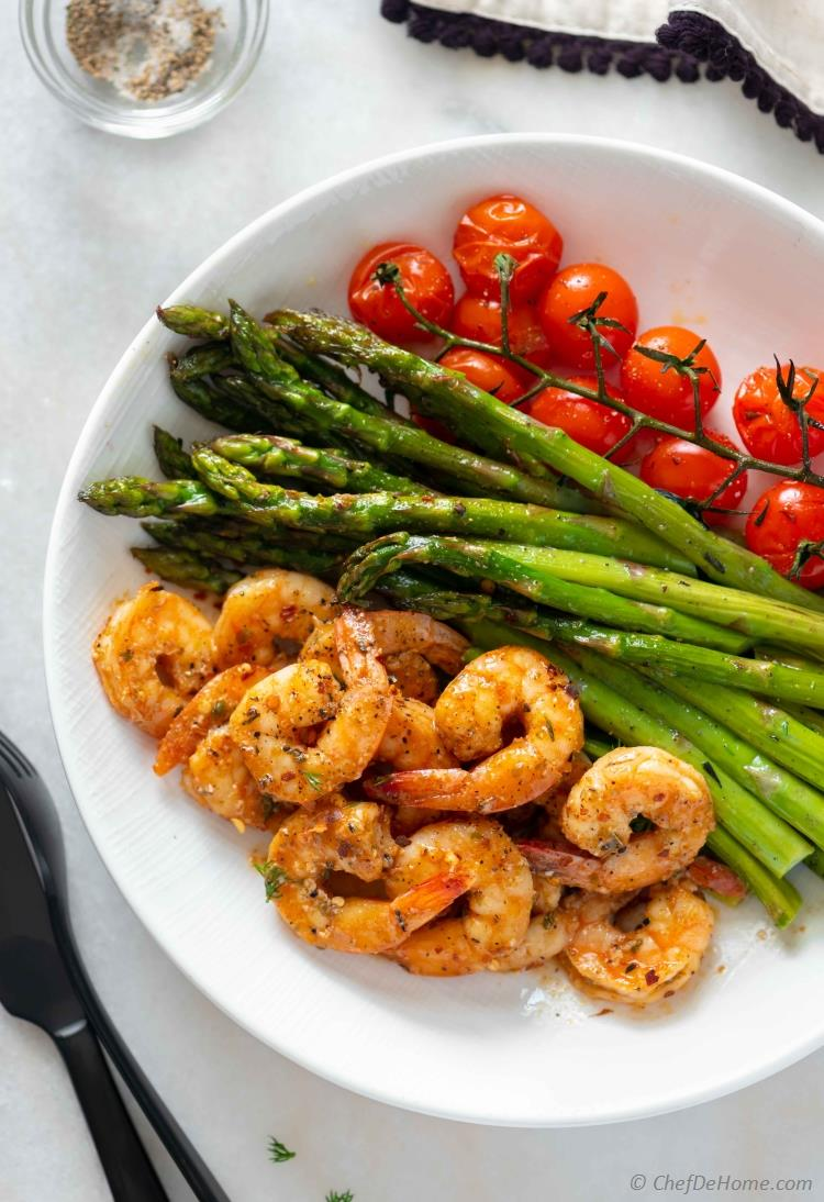 Roasted Asparagus and Shrimp with Cherry Tomatoes