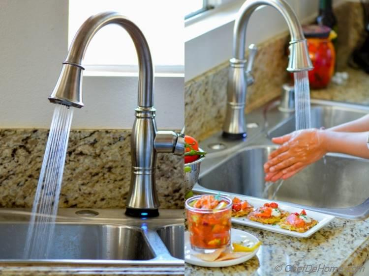 Easy Shrimp Cocktail and cleanup with Delta Kitchen Faucet | chefdehome.com