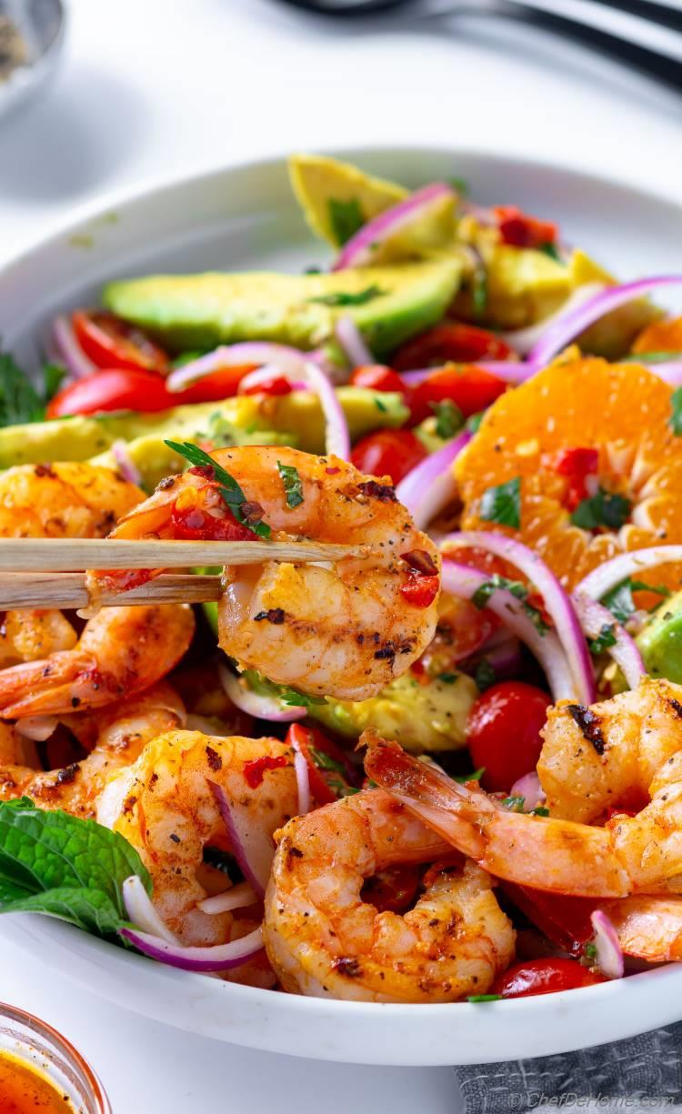 Sweet and Spicy Perfectly cooked Grilled Shrimp