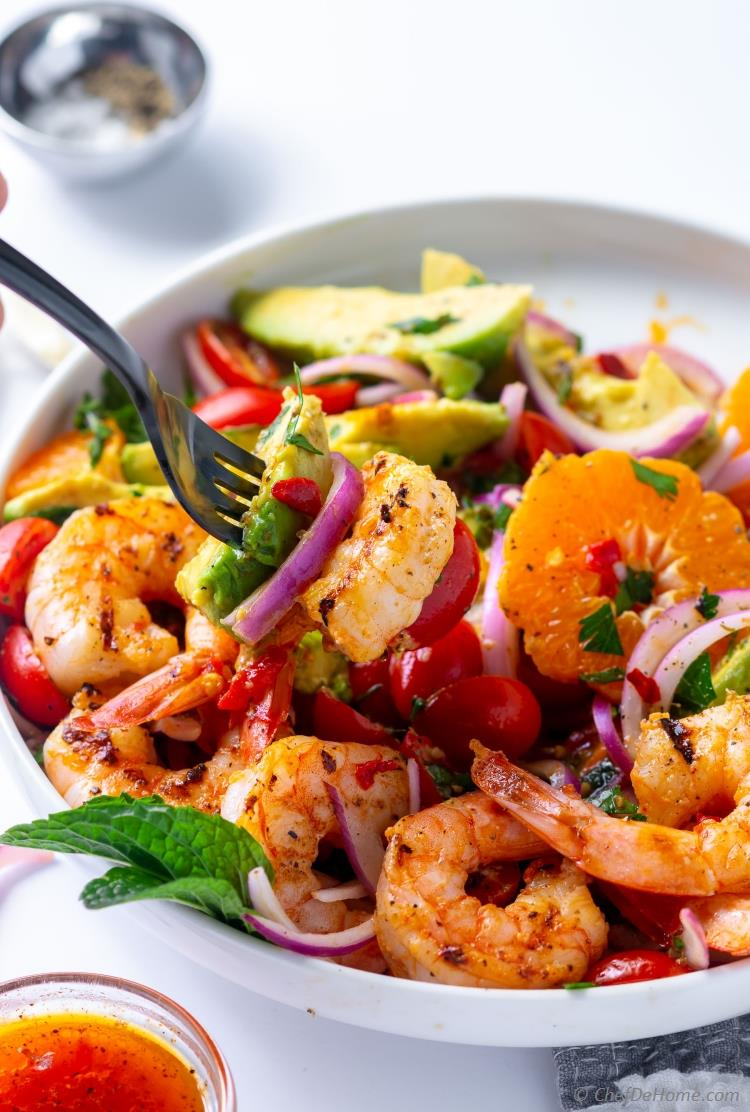 Avocado Salad with Grilled Shrimp on a Fork