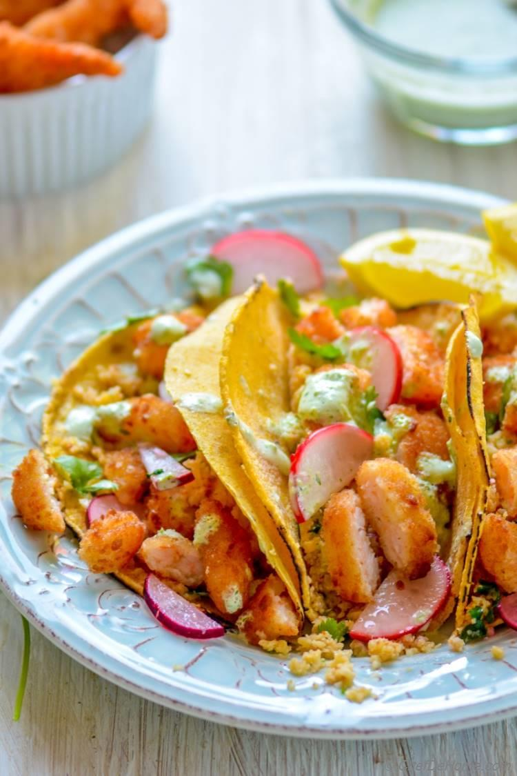 Cauliflower Rice and Butterfly Shrimp Tacos | chefdehome.com