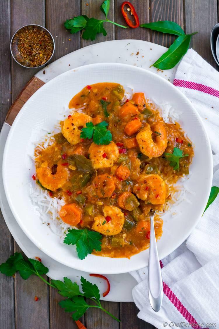 Bowl of Shrimp Etouffee Shrimp stew served over rice